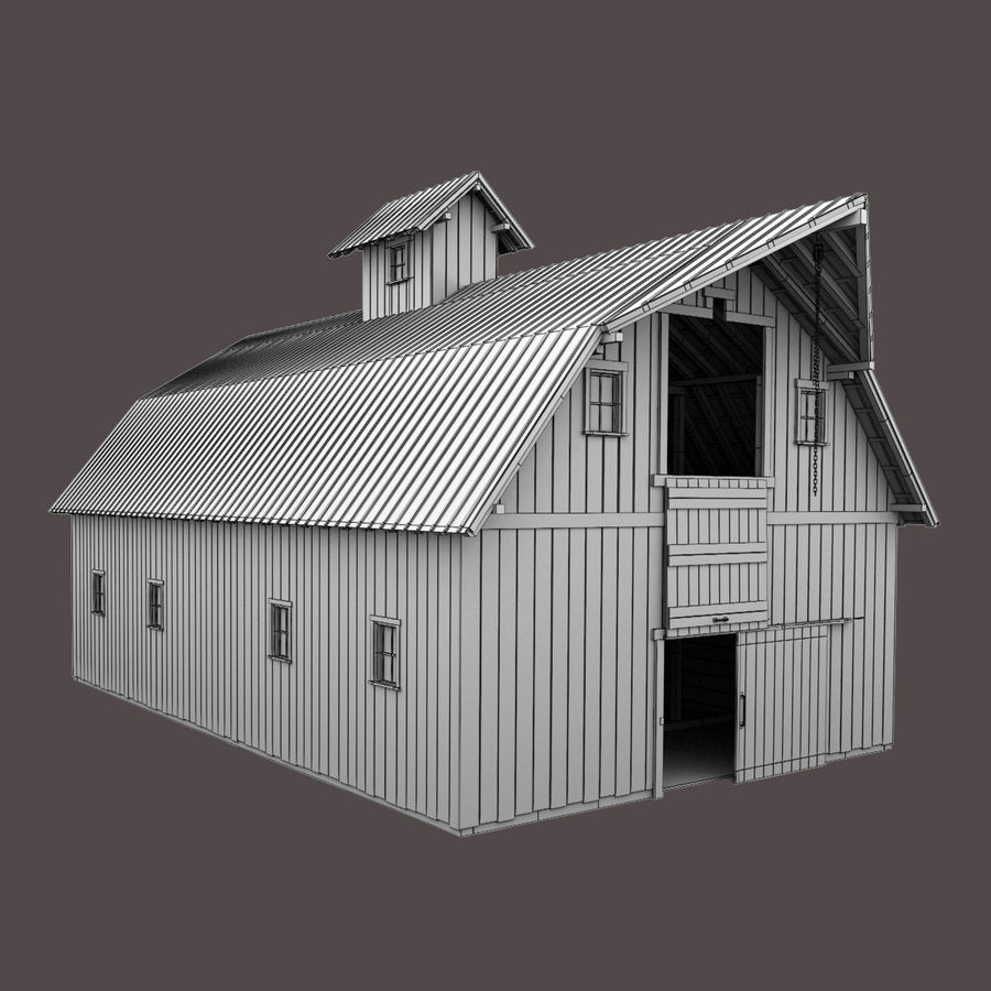 Red Barn royalty-free 3d model - Preview no. 13