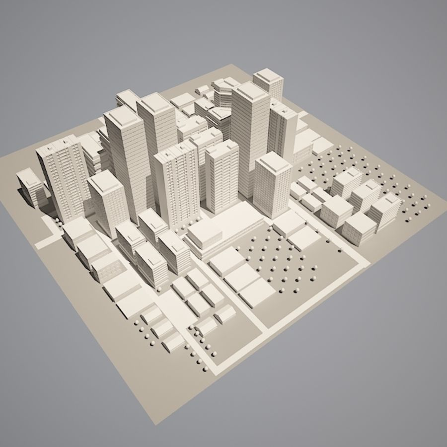 City simple model A royalty-free 3d model - Preview no. 4