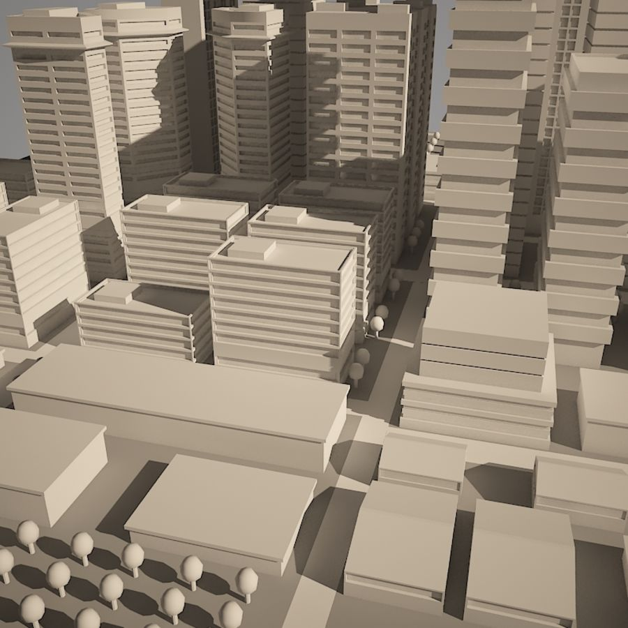 City simple model A royalty-free 3d model - Preview no. 7