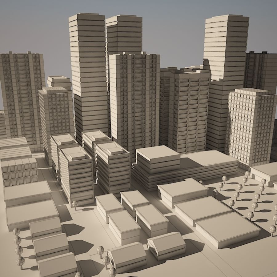 City simple model A royalty-free 3d model - Preview no. 11