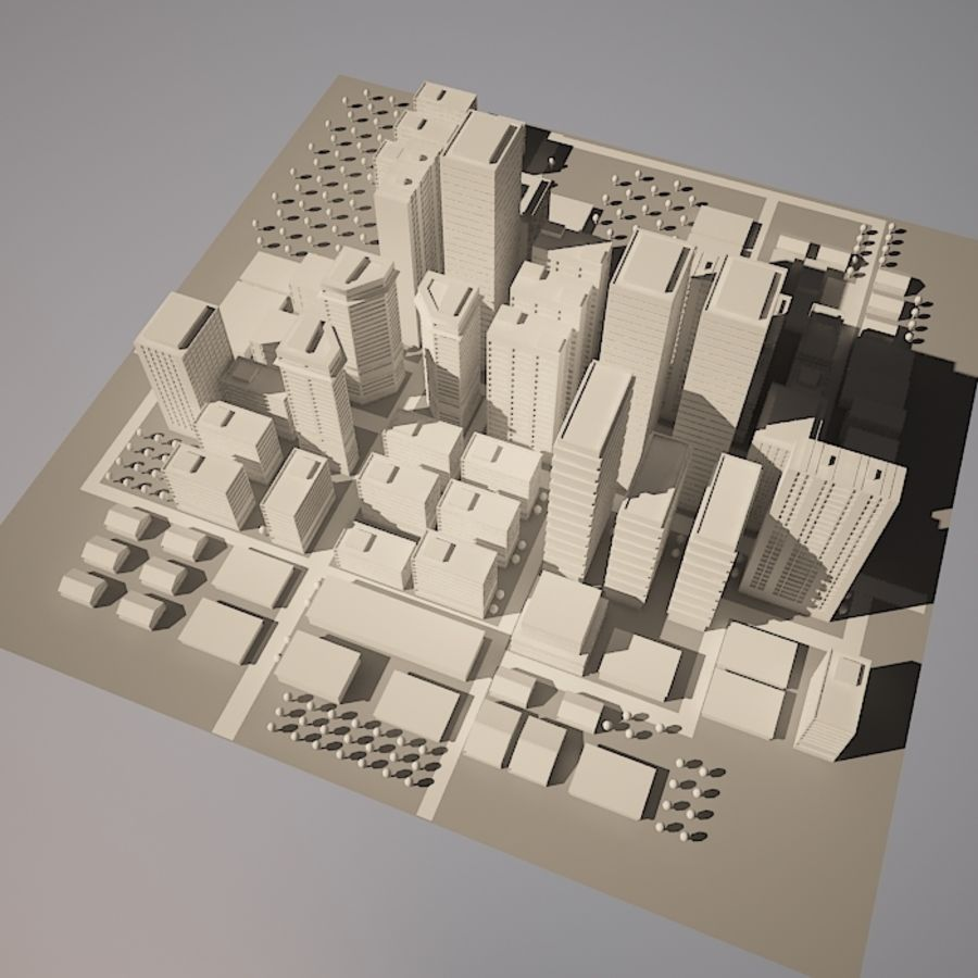 City simple model A royalty-free 3d model - Preview no. 5