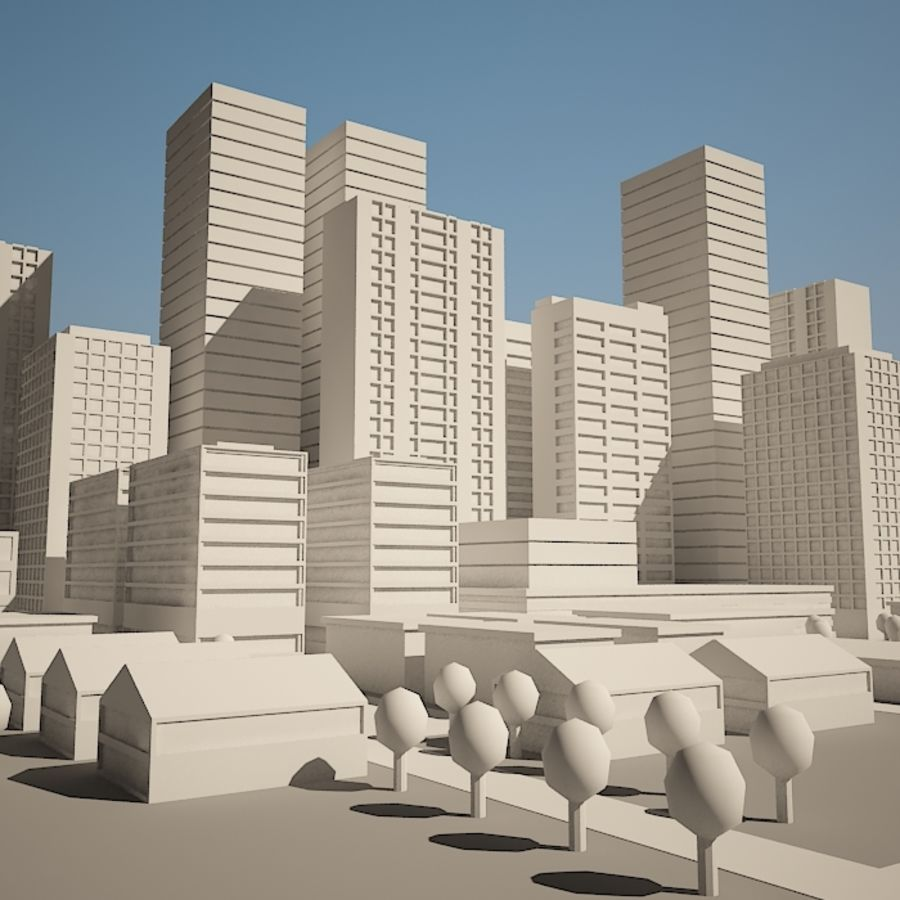 City simple model A royalty-free 3d model - Preview no. 8