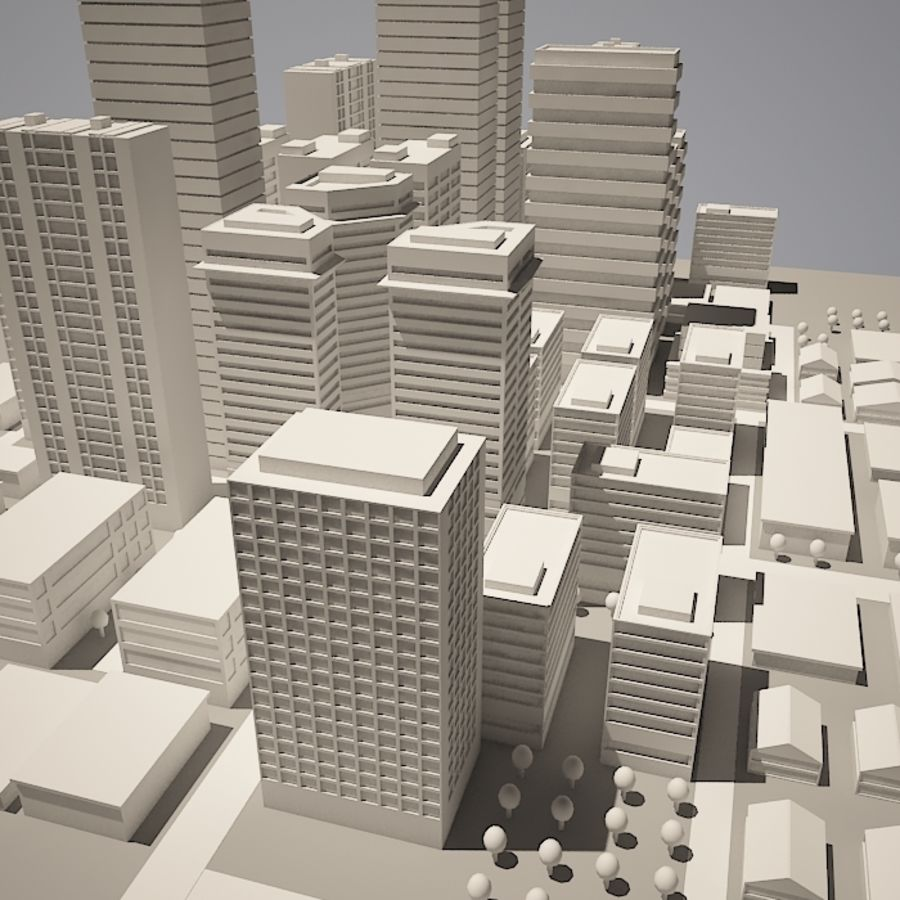 City simple model A royalty-free 3d model - Preview no. 1
