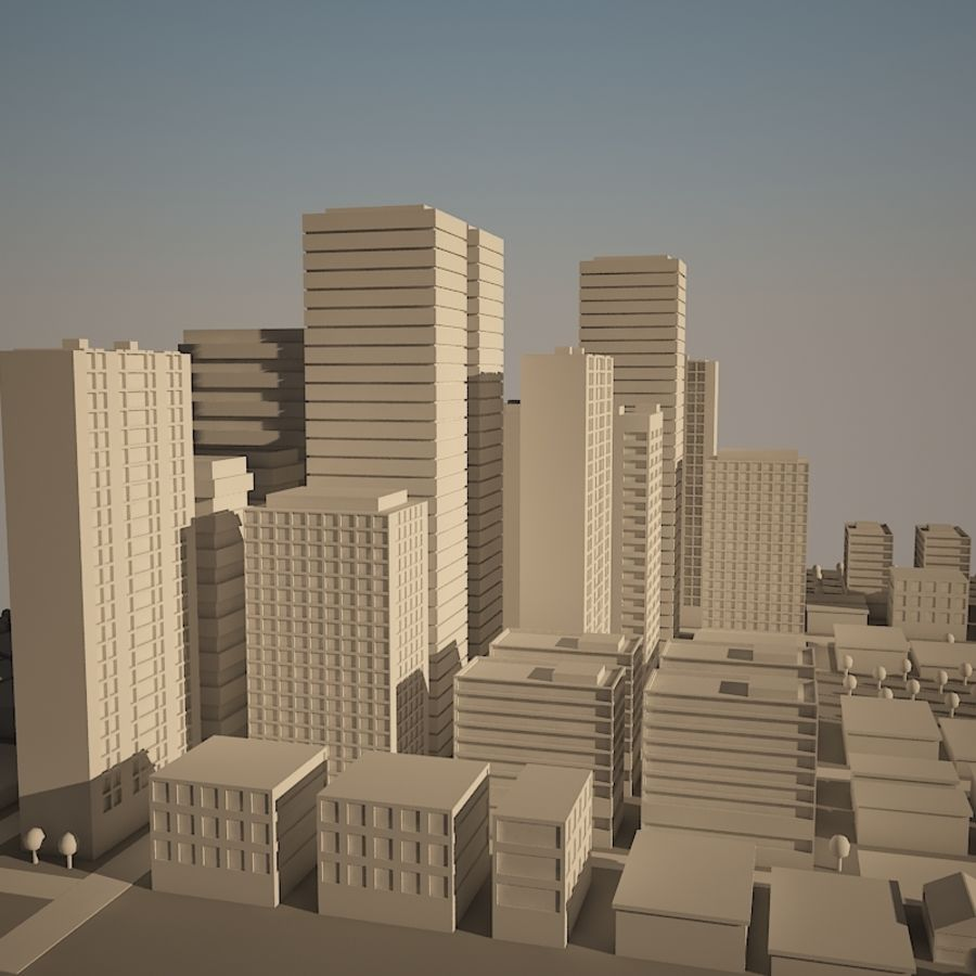 City simple model A royalty-free 3d model - Preview no. 14