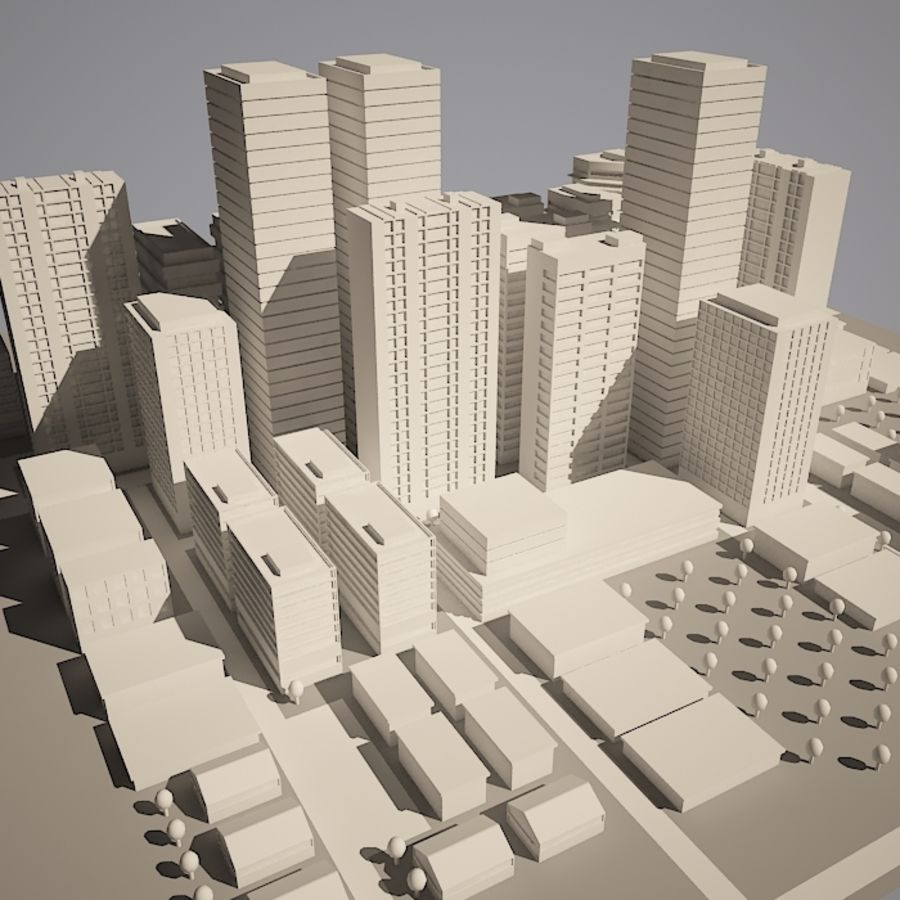 City simple model A royalty-free 3d model - Preview no. 6