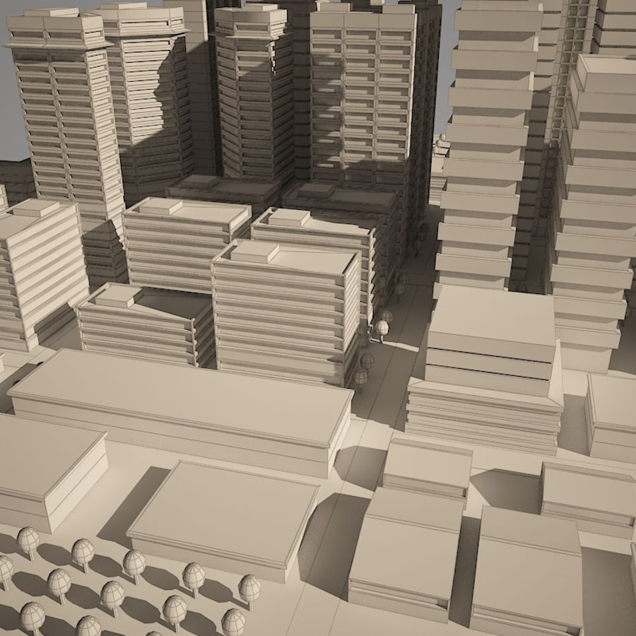 City simple model A royalty-free 3d model - Preview no. 9