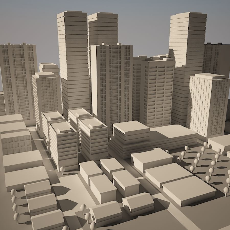 City simple model A royalty-free 3d model - Preview no. 10