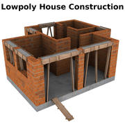 Low poly house under construction 3d model