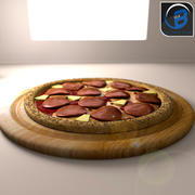 Pizza au pepperoni 3d model