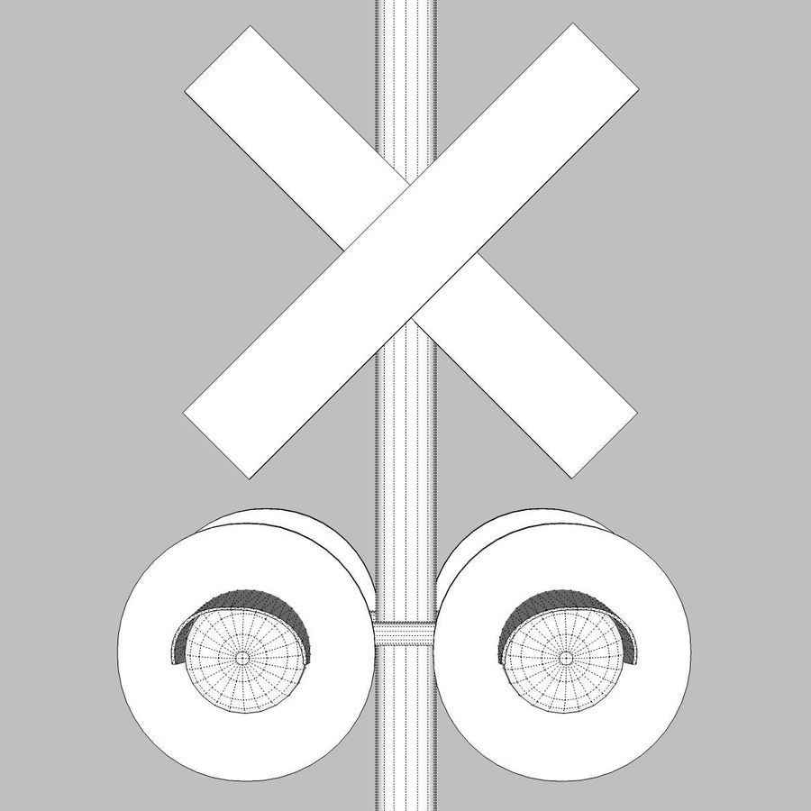 Train / Railroad Crossing Sign: C4D Format royalty-free 3d model - Preview no. 16