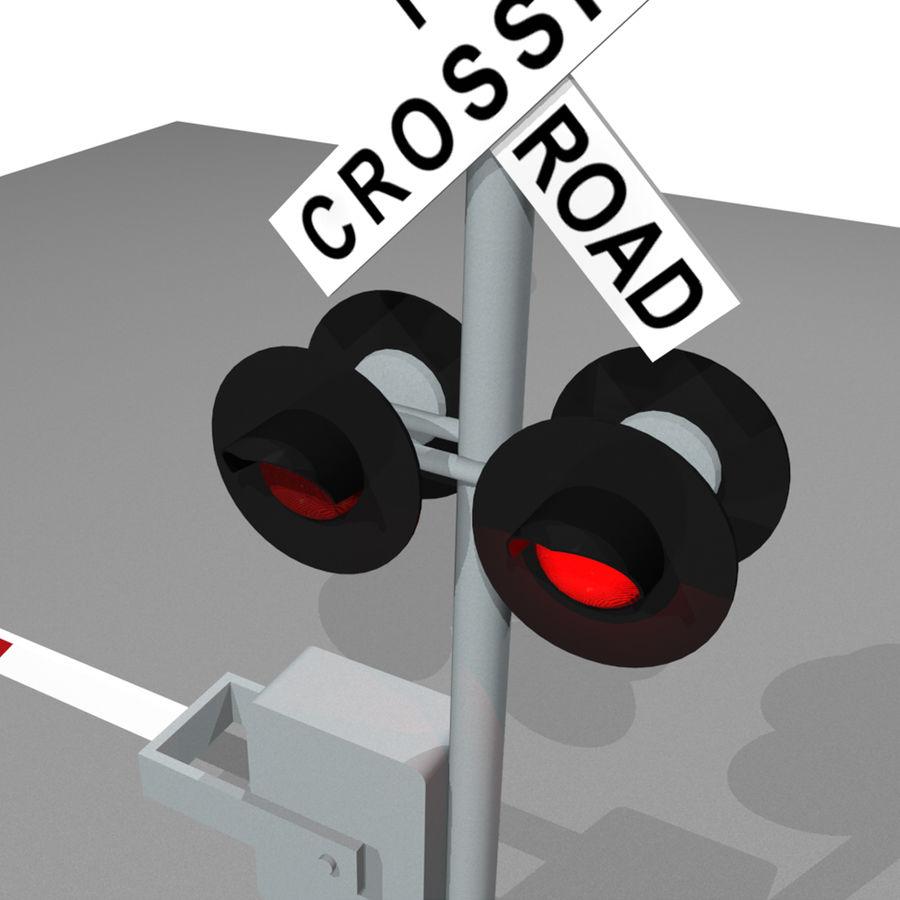 Train / Railroad Crossing Sign: C4D Format royalty-free 3d model - Preview no. 7