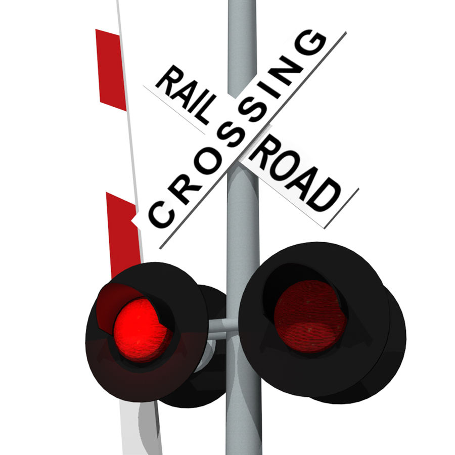 Train / Railroad Crossing Sign: C4D Format royalty-free 3d model - Preview no. 1
