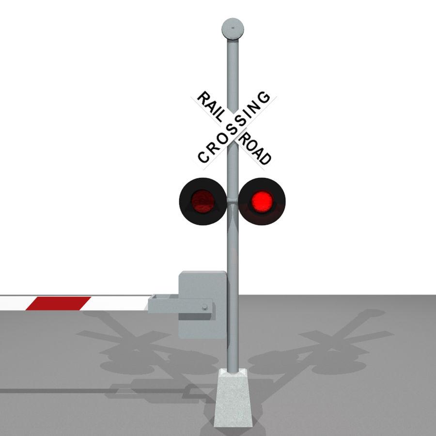 Train / Railroad Crossing Sign: C4D Format royalty-free 3d model - Preview no. 5