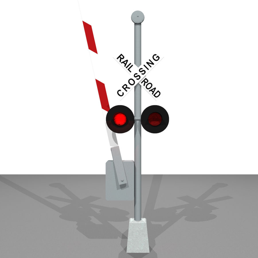 Train / Railroad Crossing Sign: C4D Format royalty-free 3d model - Preview no. 6