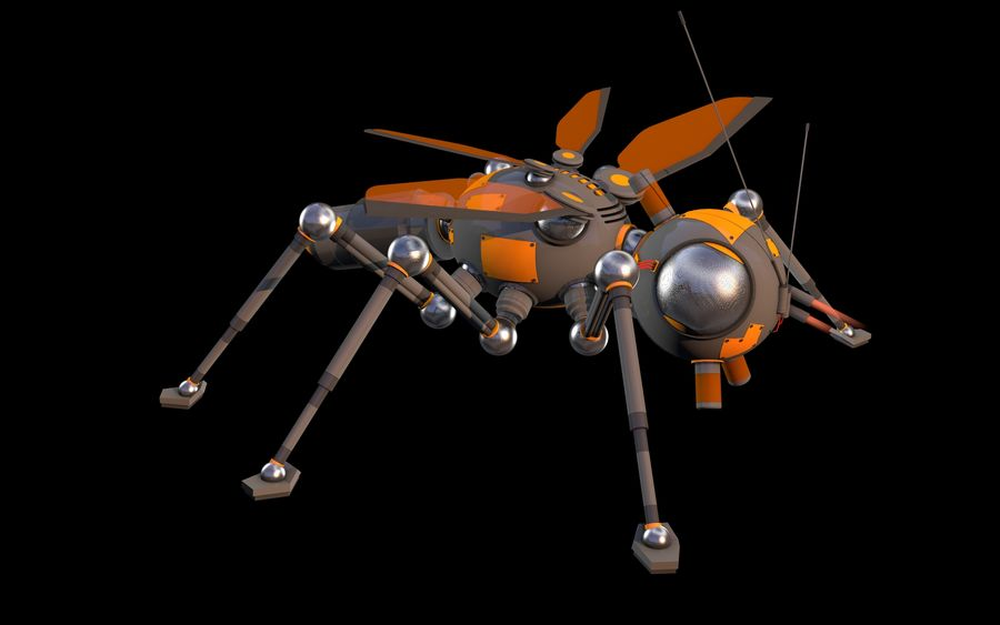 robotic bug royalty-free 3d model - Preview no. 3