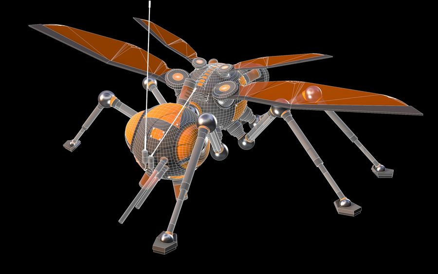 robotic bug royalty-free 3d model - Preview no. 9