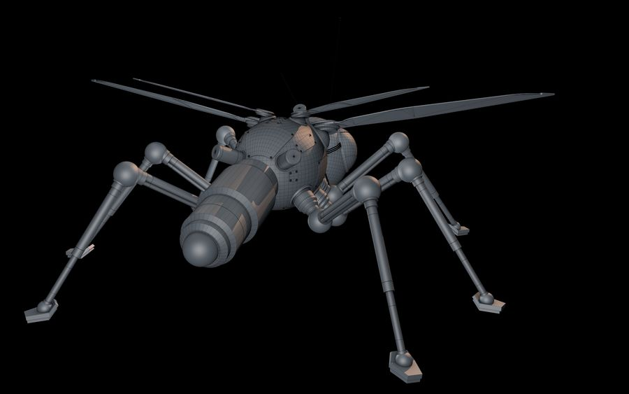robotic bug royalty-free 3d model - Preview no. 12