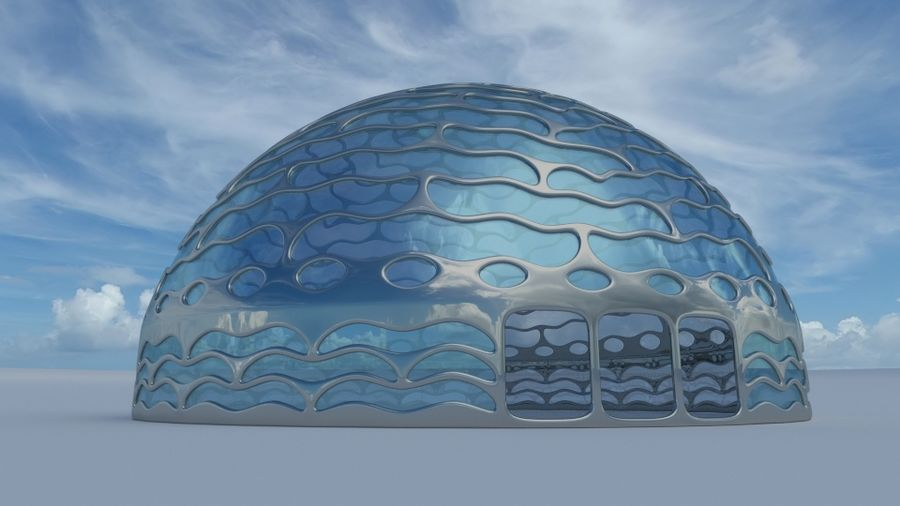 dôme de la terre et de la rivière royalty-free 3d model - Preview no. 1