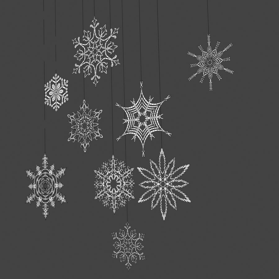 Snowflakes royalty-free 3d model - Preview no. 4