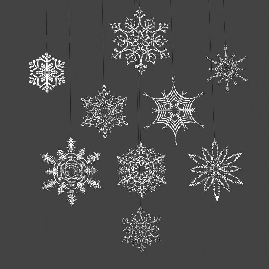 Snowflakes royalty-free 3d model - Preview no. 5