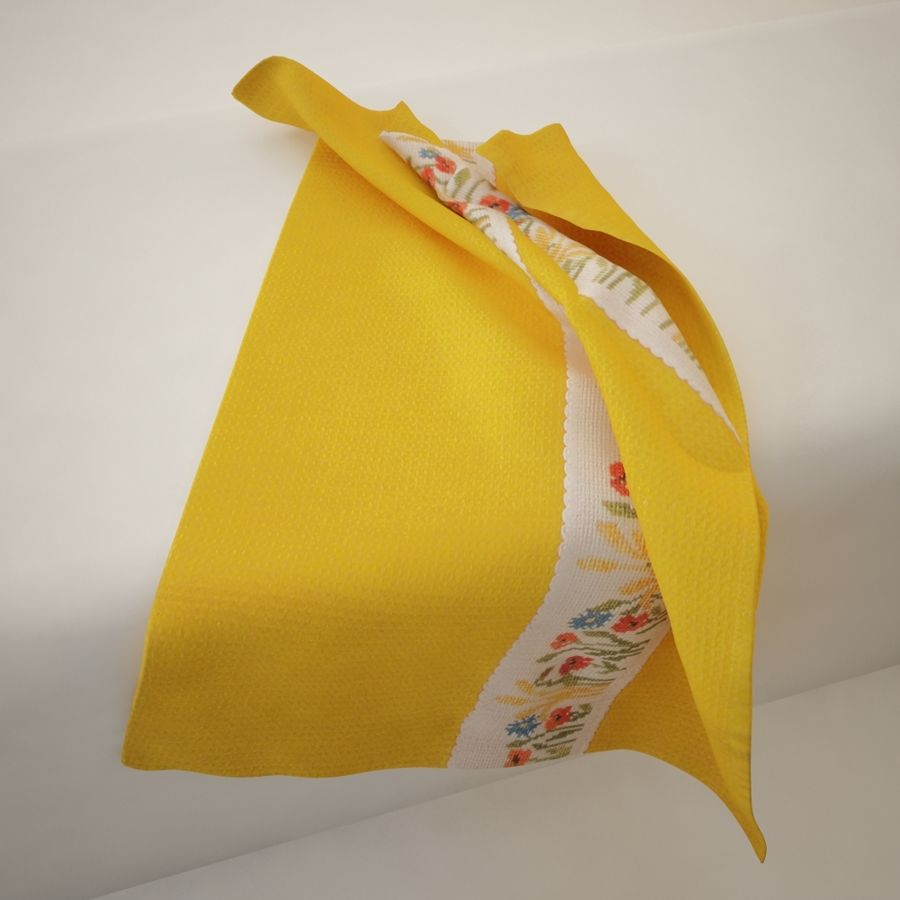 Towel - Yellow royalty-free 3d model - Preview no. 3