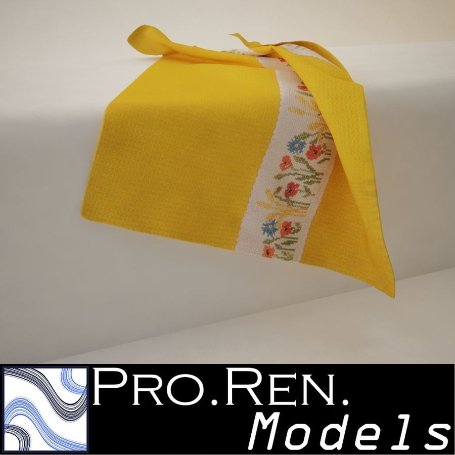Towel - Yellow royalty-free 3d model - Preview no. 1