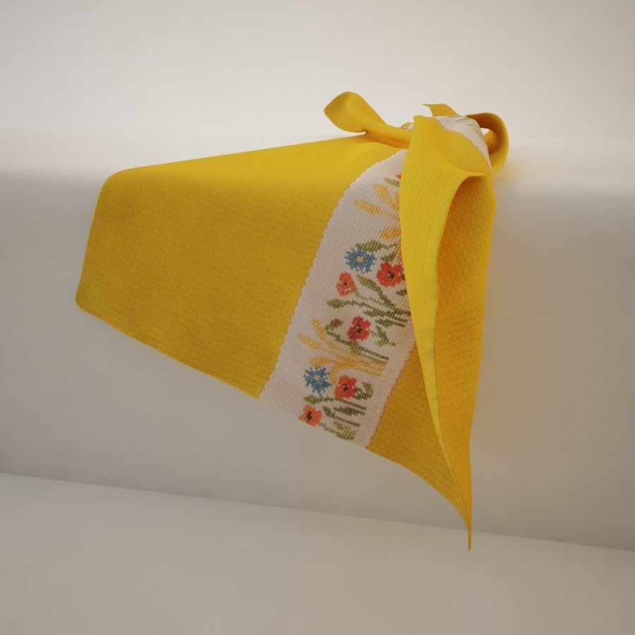 Towel - Yellow royalty-free 3d model - Preview no. 2