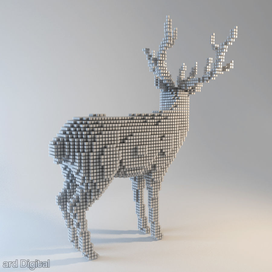 Pixel Reindeer royalty-free 3d model - Preview no. 4