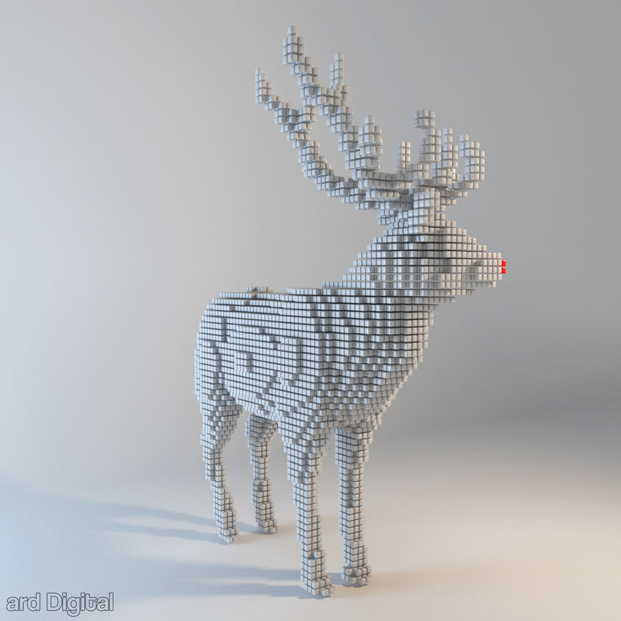 Pixel Reindeer royalty-free 3d model - Preview no. 2