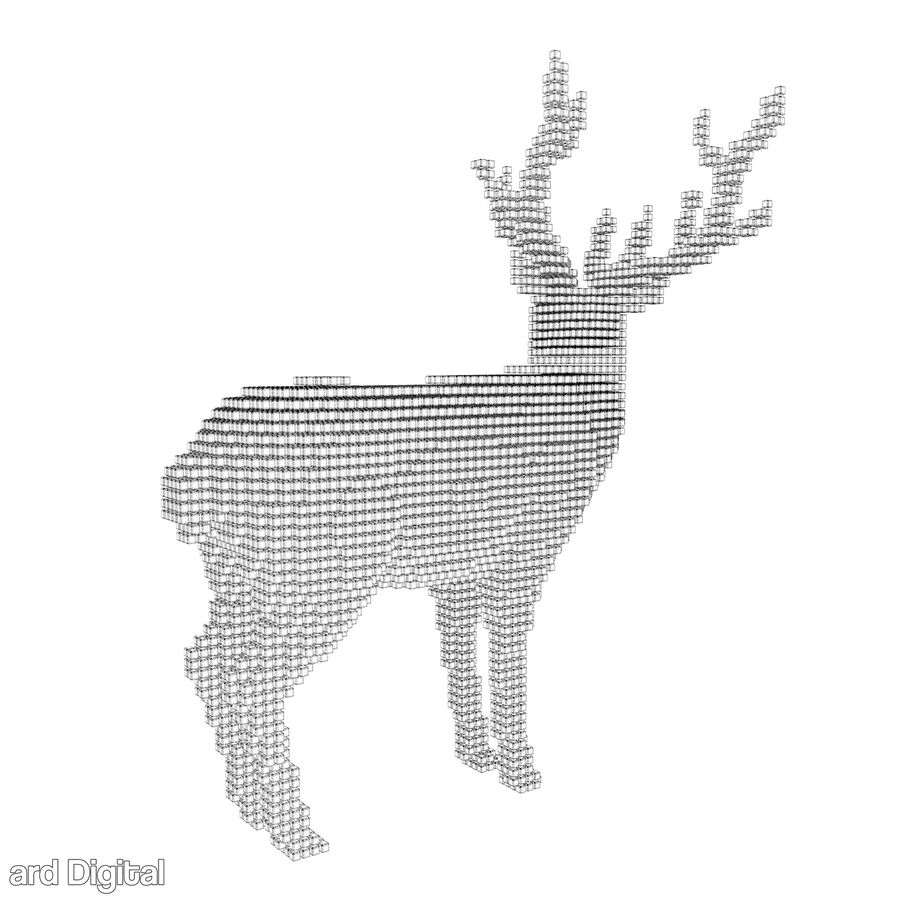 Pixel Reindeer royalty-free 3d model - Preview no. 8
