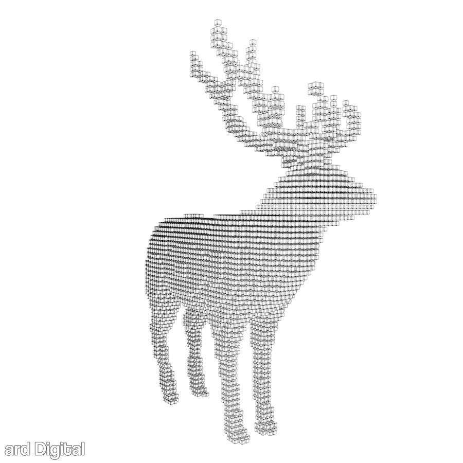 Pixel Reindeer royalty-free 3d model - Preview no. 6