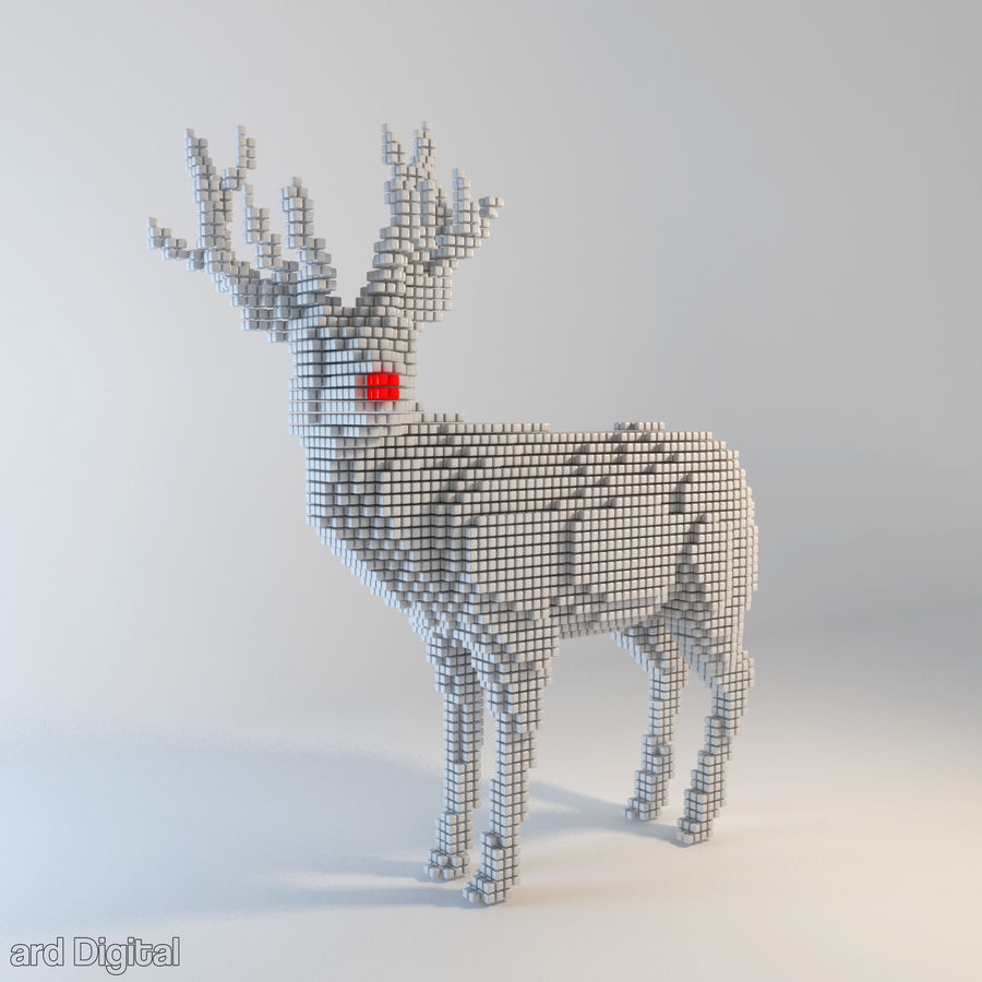 Pixel Reindeer royalty-free 3d model - Preview no. 1