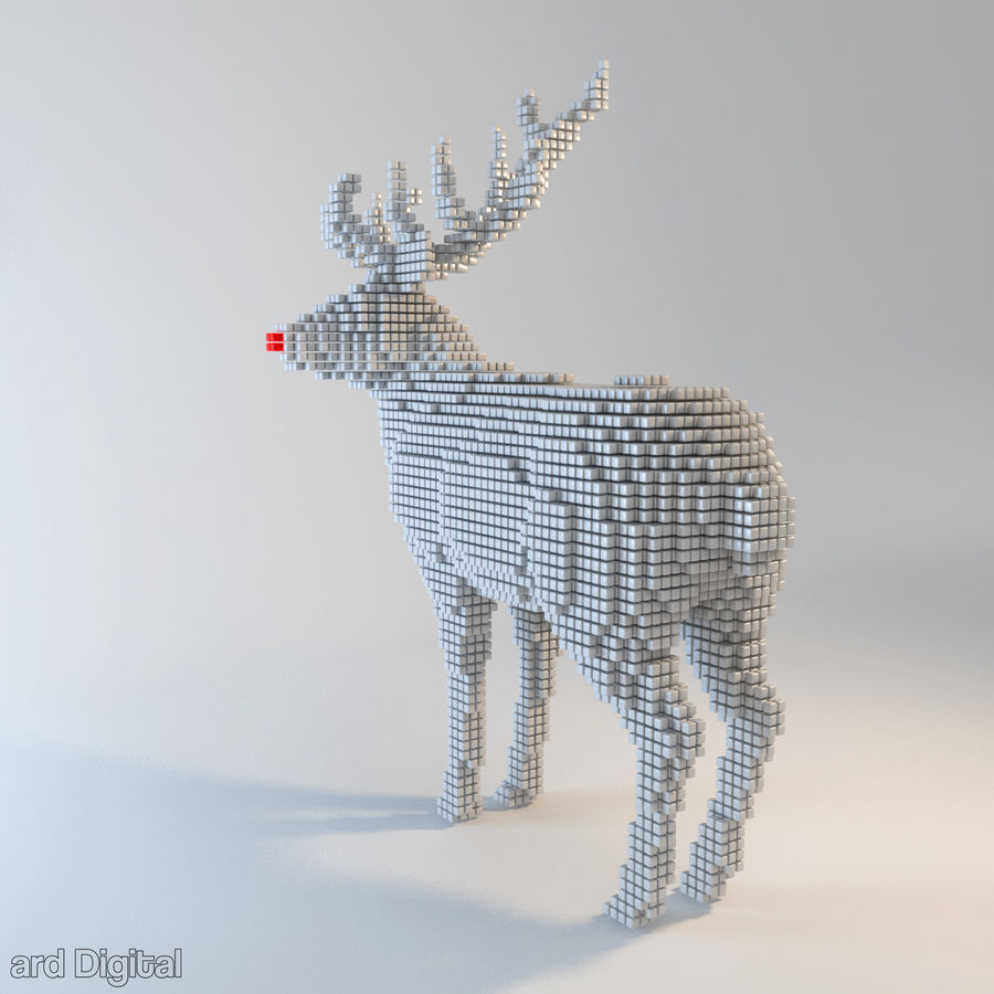 Pixel Reindeer royalty-free 3d model - Preview no. 3
