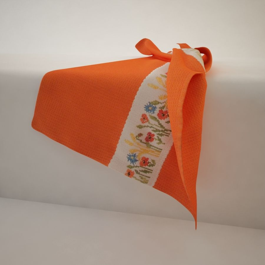 Towel - Orange royalty-free 3d model - Preview no. 2