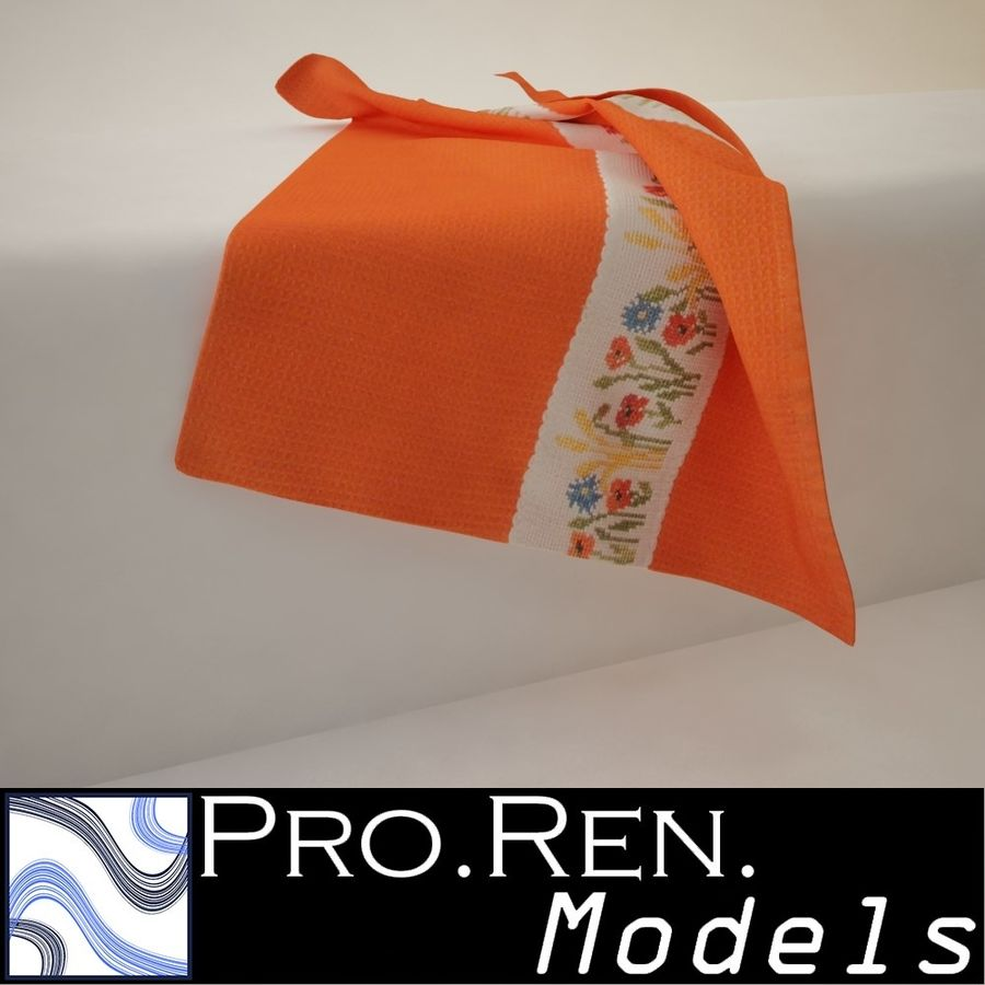 Towel - Orange royalty-free 3d model - Preview no. 1