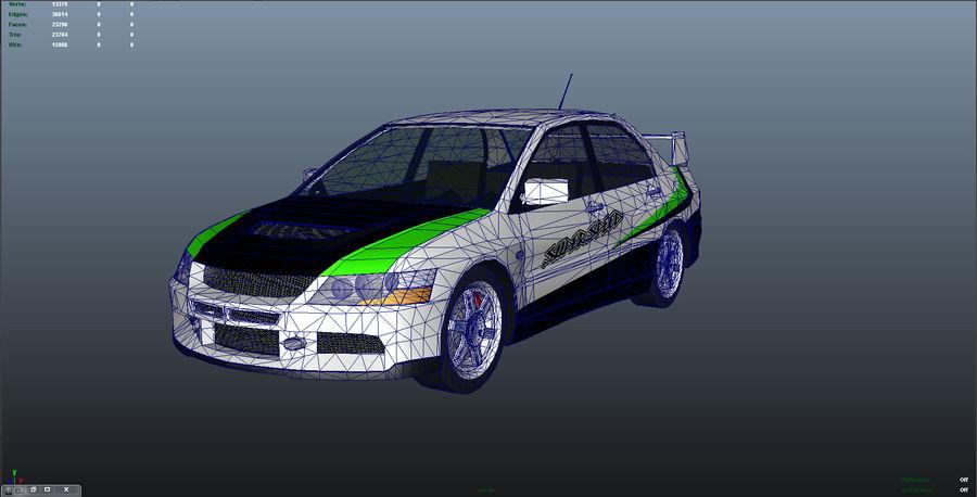 Mitsubishi Lancer Evolution IX Gamemodel royalty-free 3d model - Preview no. 6