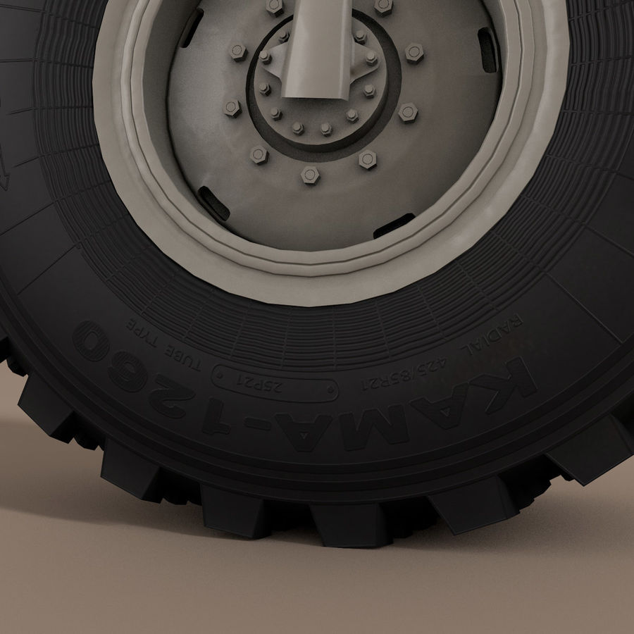 KAMAZ Radlastwagen royalty-free 3d model - Preview no. 7