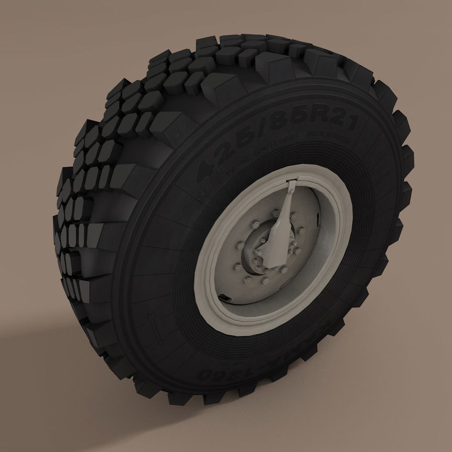KAMAZ Radlastwagen royalty-free 3d model - Preview no. 5