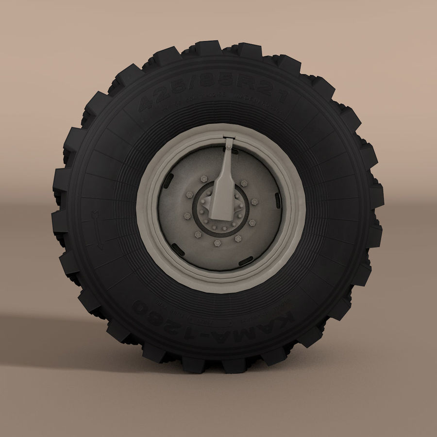 KAMAZ Radlastwagen royalty-free 3d model - Preview no. 2