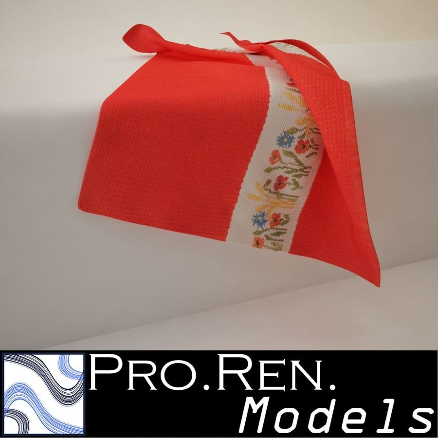 Towel - Red royalty-free 3d model - Preview no. 1