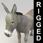 Lowpoly rigged donkey 3d model