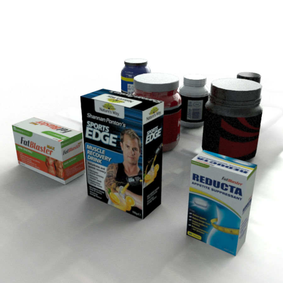 Botellas y Cajas de Vitaminas royalty-free modelo 3d - Preview no. 4