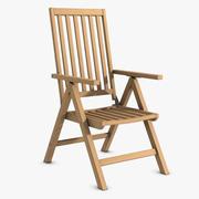 Reclining Wooden Chair 3d model