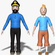 Kuifje en schelvis 3d model