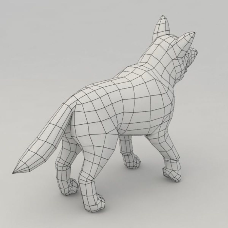 Wolf pup royalty-free 3d model - Preview no. 6