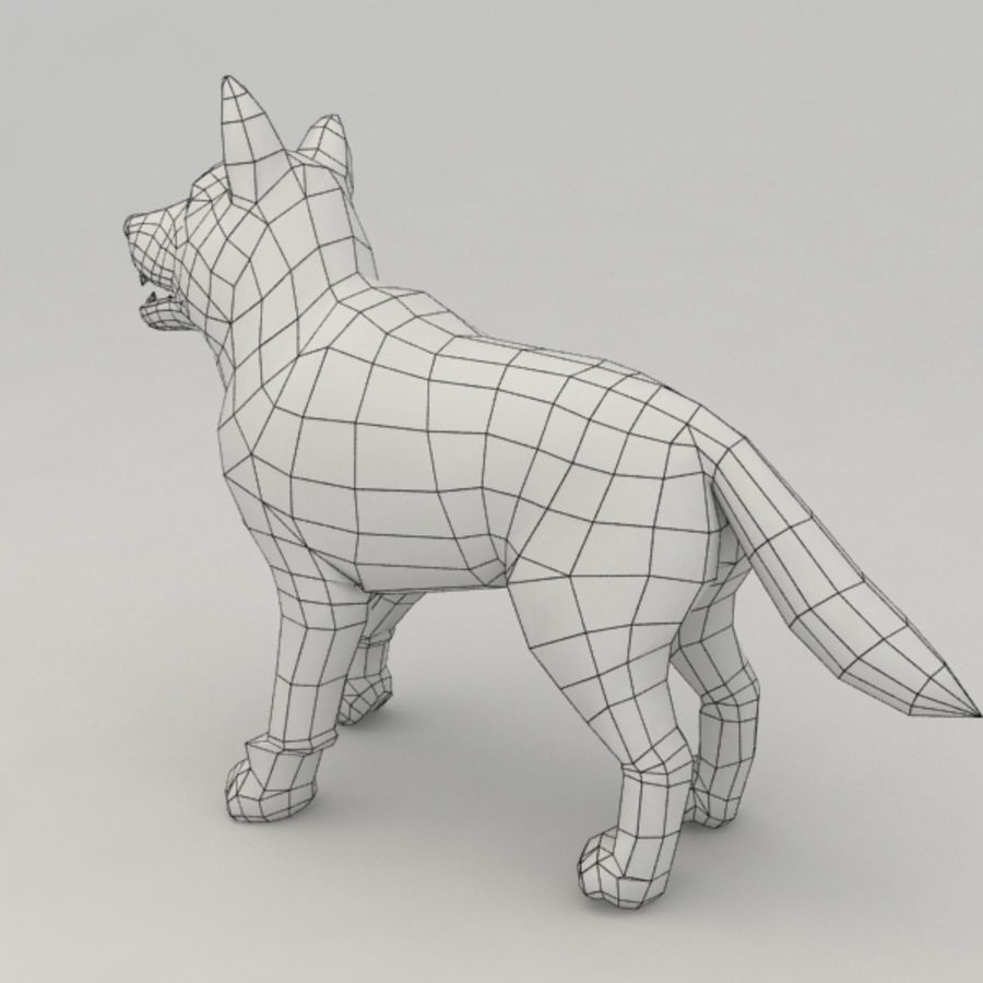 Wolf pup royalty-free 3d model - Preview no. 5