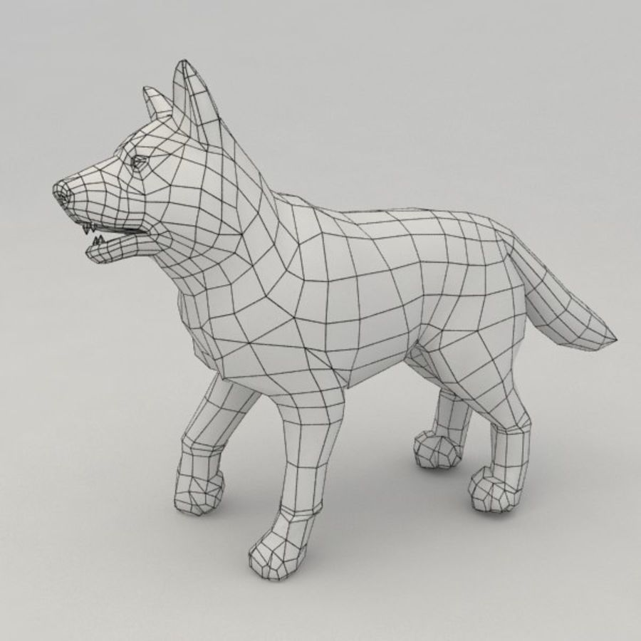 Wolf pup royalty-free 3d model - Preview no. 4