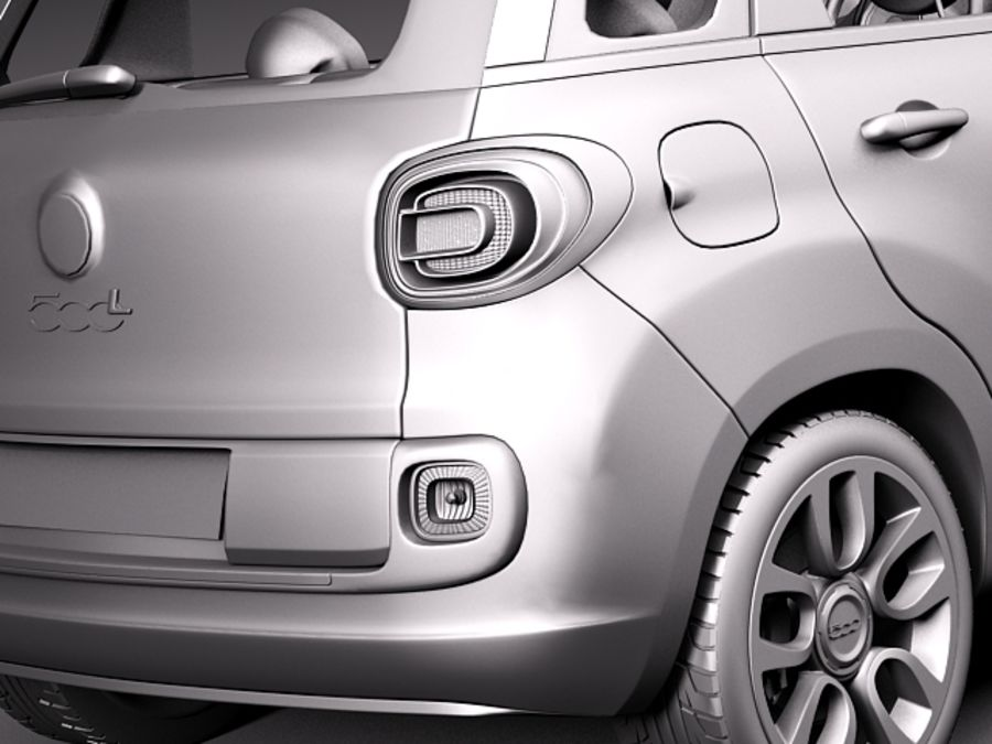 Fiat 500L USA-version 2013 royalty-free 3d model - Preview no. 11