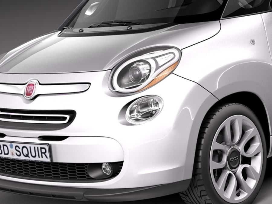 Fiat 500L USA-version 2013 royalty-free 3d model - Preview no. 3