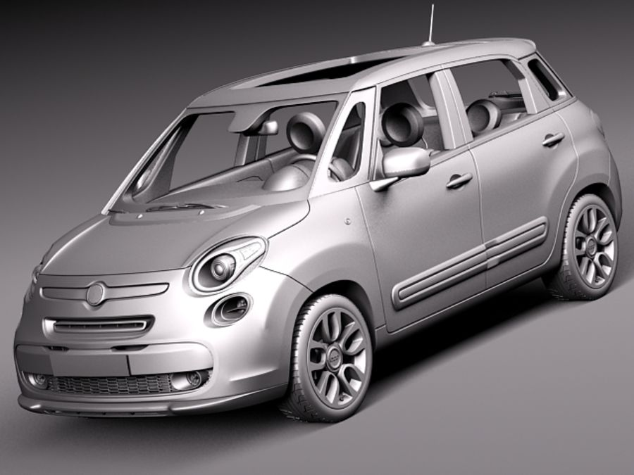 Fiat 500L USA-version 2013 royalty-free 3d model - Preview no. 9